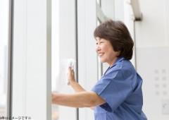 清掃作業 窓ふき シニア女性