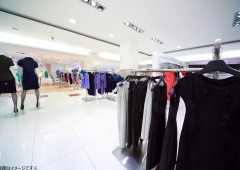 Large shop of womanish clothes, focus on peg on right in center