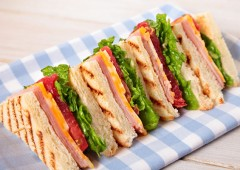 59005446 - summer picnic club sandwich ham and cheese in a row
