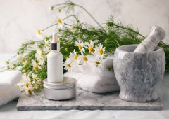 Concept of flowers and organic cosmetic. Essential camomile oil
